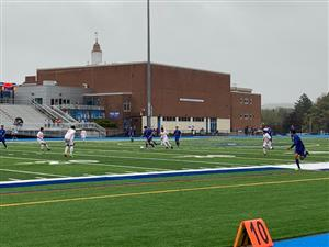 Boys soccer on turf field