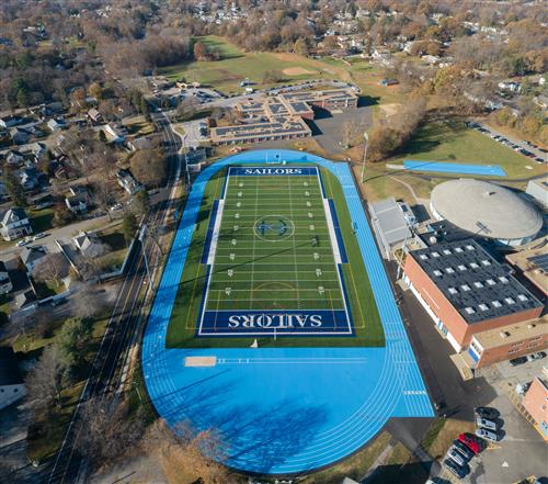 Drone shot of new field