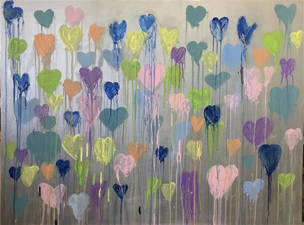 "Fourth Grade Drippy Hearts Painting for Auction 30"" x 40"" Acrylic on Canvas"