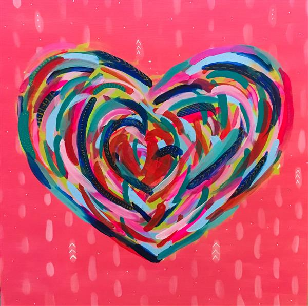 "Fifth Grade Art Heart Painting for Auction 30"" x 40"" Acrylic on Canvas"
